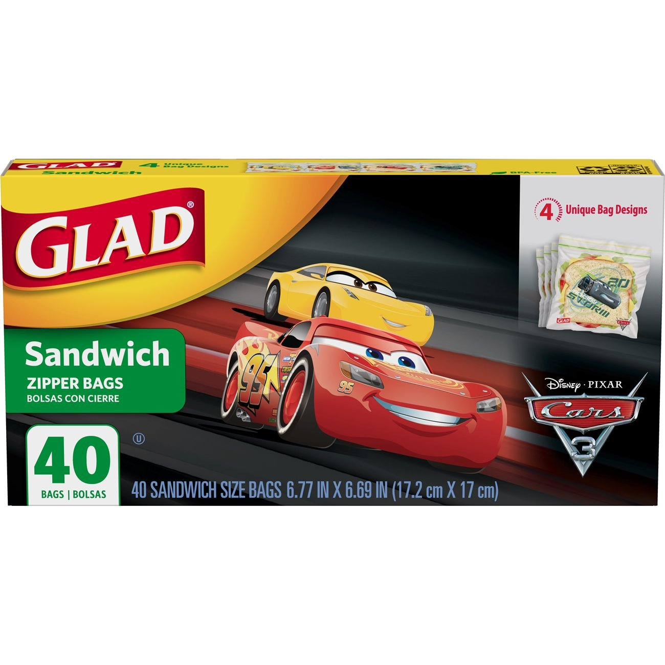 Glad Zipper Food Storage Sandwich Bags - Disney-Pixar Cars - 40 Count (Packaging may vary)