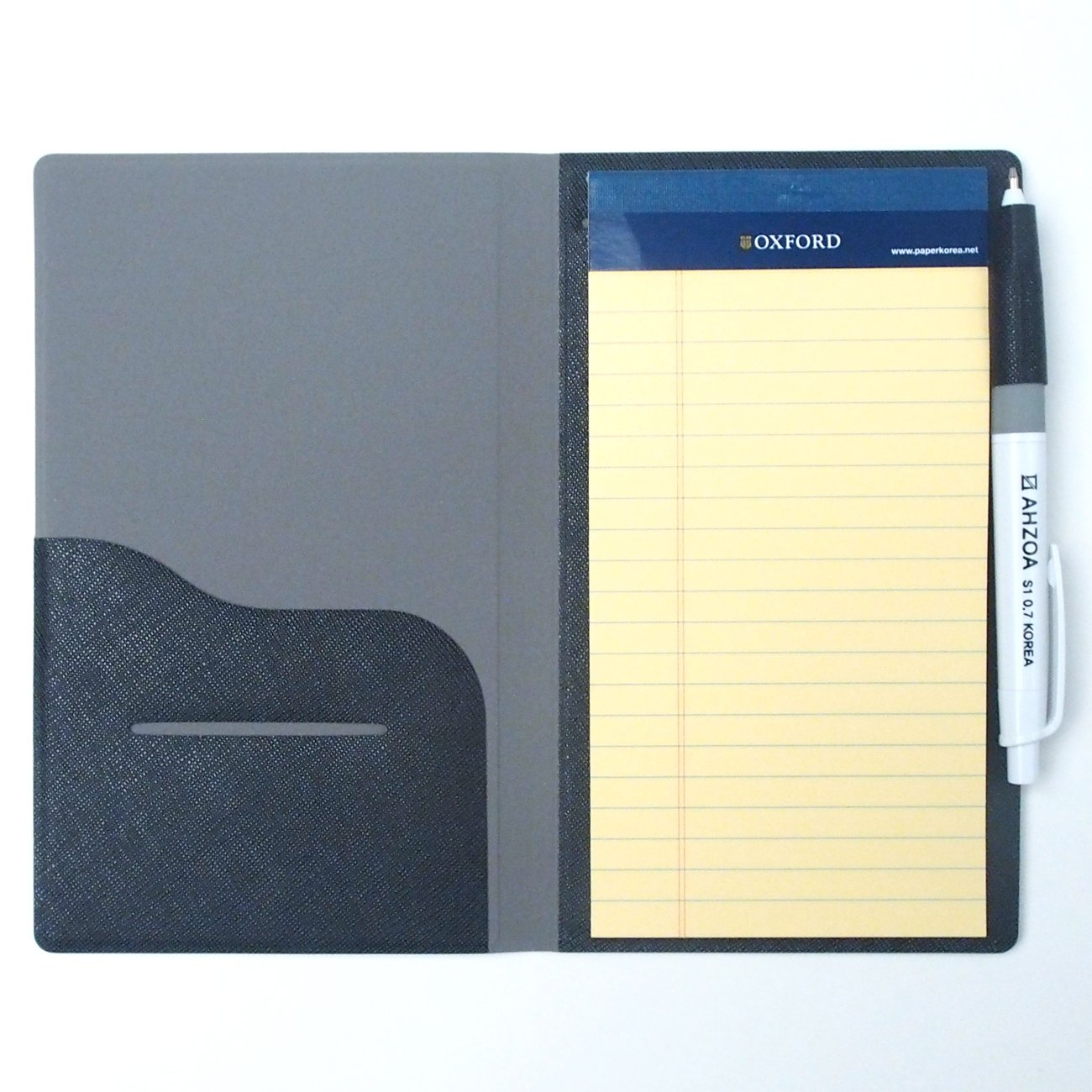 2 Pockets Slim Memo Padfolio F1 with AHZOA Pencil, Including Legal Writing Pad, Handmade 4.33 X 7.28 inch Folder Clipboard Writing Pad (Black)