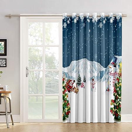 Cortinas de cocina con diseño de copos de nieve para salón, dormitorio, Navidad, festival, Navidad, etc. Cortina de tela para puerta corredera de cristal o patio: Amazon.es: Hogar