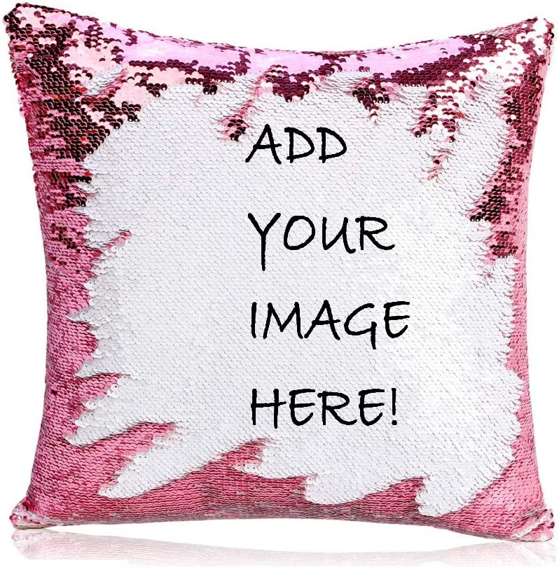 Amazon Com Lqs0702 Personalized Sequin Pillow Personal Customize Cushion Personalized Pet Photo Pillow Custom Gifts 15 75x15 75 Inches Home Kitchen