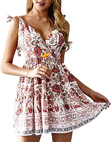 Summer Dresses For Women Clearance Casual Summer Floral Print V-Neck Short Sleeve T-shirt Dress Mini Dress For Anniversary,Party,Valentines Day Pink,M