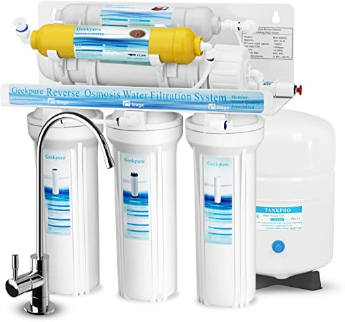 Geekpure 6-Stage Reverse Osmosis Drinking Water Filter System with Various Mineral Filter-NSF Certified Membrane Removes Up to 99 Impurities-Great Taste High Capacity 75 GPD