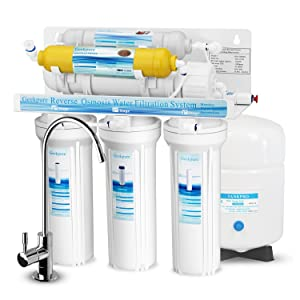 Geekpure 6-Stage Reverse Osmosis Drinking Water Filter System with Various Mineral Filter-75GPD