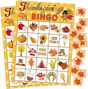 Fancy Land Juego de Bingo de Acción de Gracias 24 Jugadores para Fiestas Infantiles: Amazon.es: Juguetes y juegos