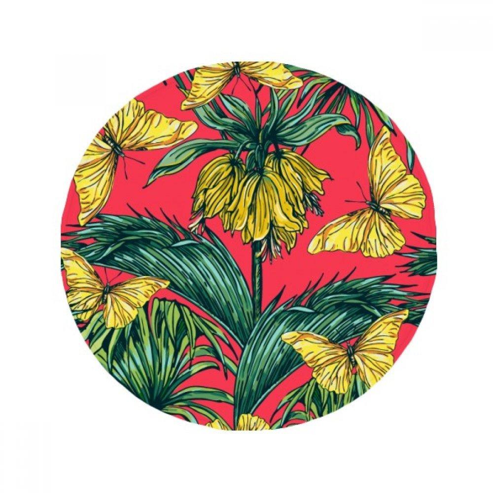60X60cm DIYthinker Flower Plant Leaf Pink Butterfly Anti-Slip Floor Pet Mat Round Bathroom Living Room Kitchen Door 60 50Cm Gift