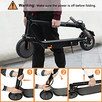 """mokwheel Electric Scooter, 15.5mph on 8.5"""" Run Flat Cushioned Tires, Foldable, Portable - City Commuter Scooter"""