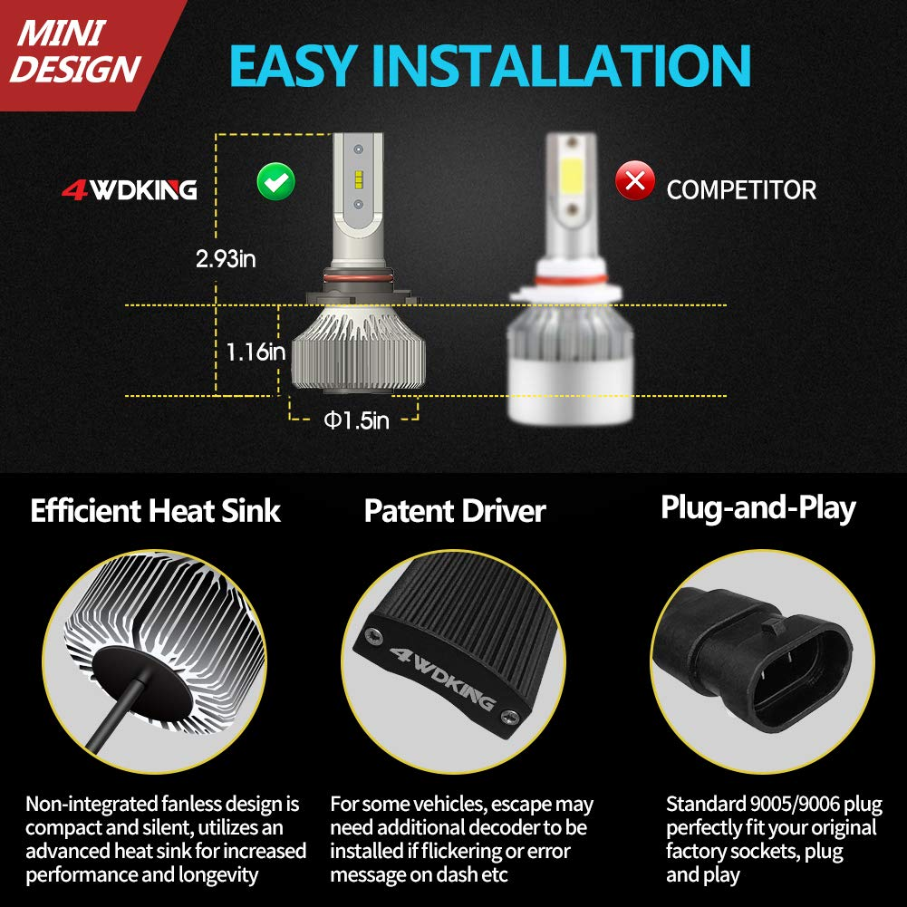 Fanless Super Bright High//Low Beam 60W 8000LM 6500K Cool White HB5 Conversion Kit with T10 x2 4WDKING 9007 LED Headlight Bulbs