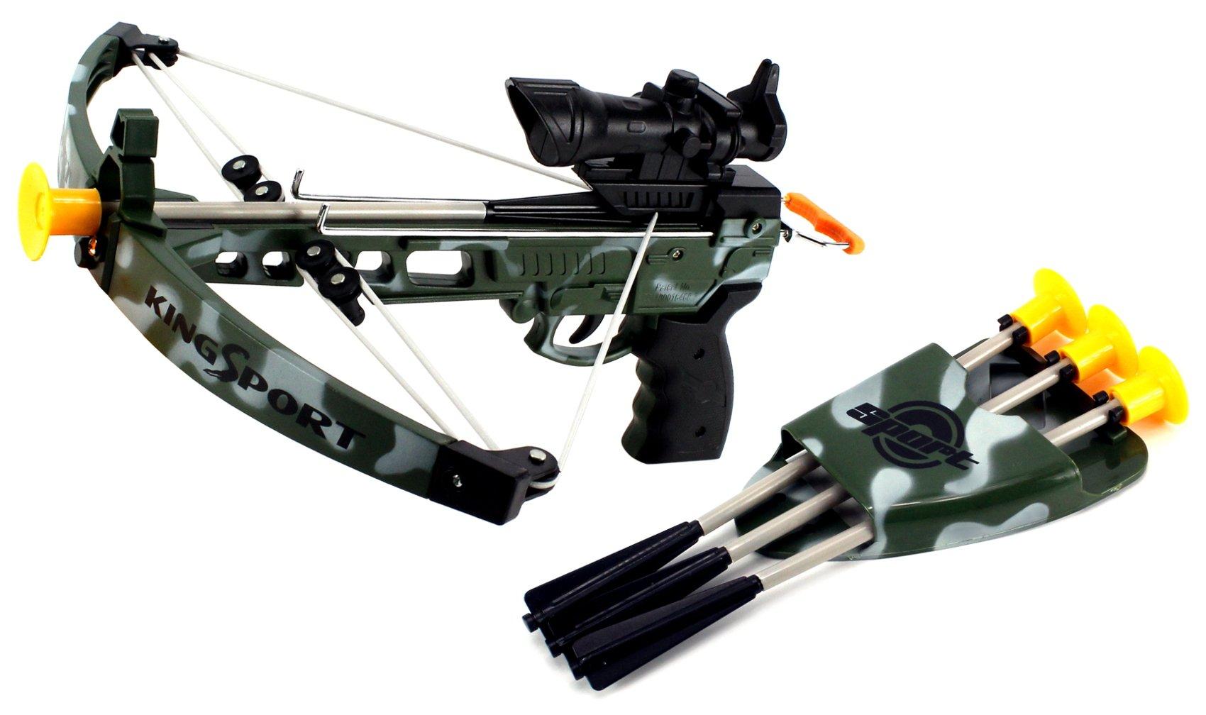 K-Sport Military Army Camo Toy Crossbow Dart Play Set w/Practice Target, 4 Dart Arrows, Arrow Holder, Mock Scope