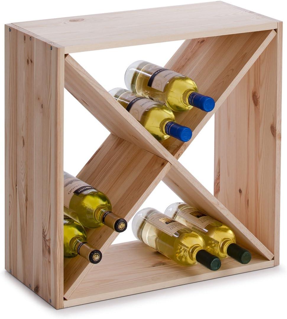 Zeller 13170 Croix Casier A Vin En Bois Naturel 52 X 25 X 52 Cm Amazon Fr Cuisine Maison