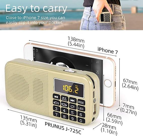 Plus de 30 Heures Radio L-558 Portable FM//MP3//SD//USB PRUNUS avec Batterie de Grande Capacit/é . Lecture Longue Dur/ée Pas de Fonction de M/émoire Manuelle 3000mAh dot/ée d/'Une Fonction Lampe d/'Urgence