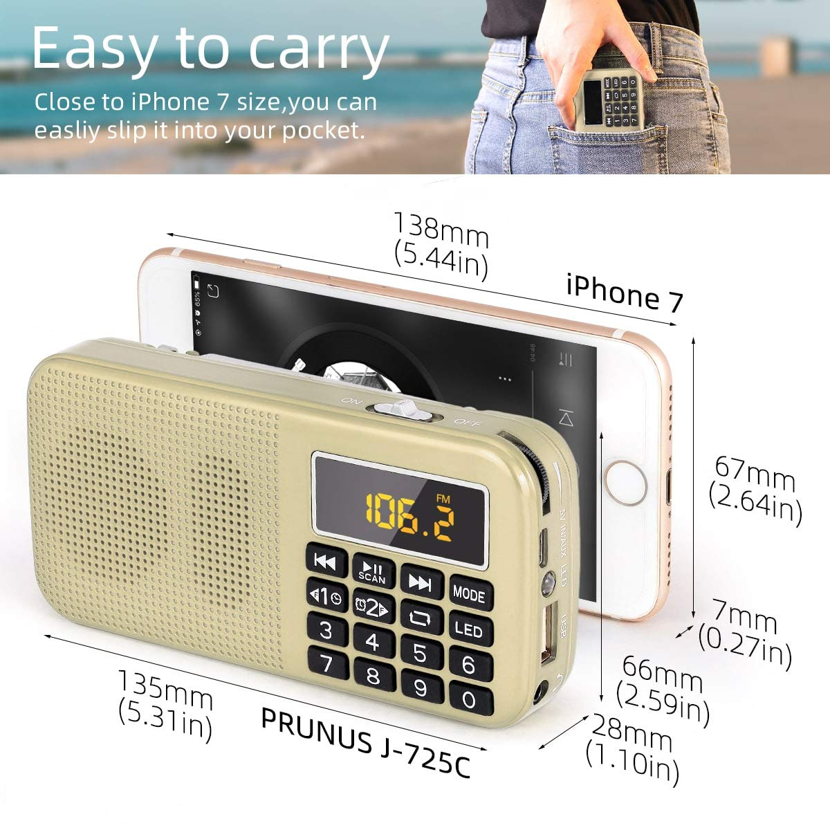 Lecture Longue Dur/ée Plus de 30 Heures Radio J-725C Portable Radio-r/éveil FM//MP3//SD//USB PRUNUS avec Batterie de Grande Capacit/é Pas de Fonction de M/émoire Manuelle . 3000mAh
