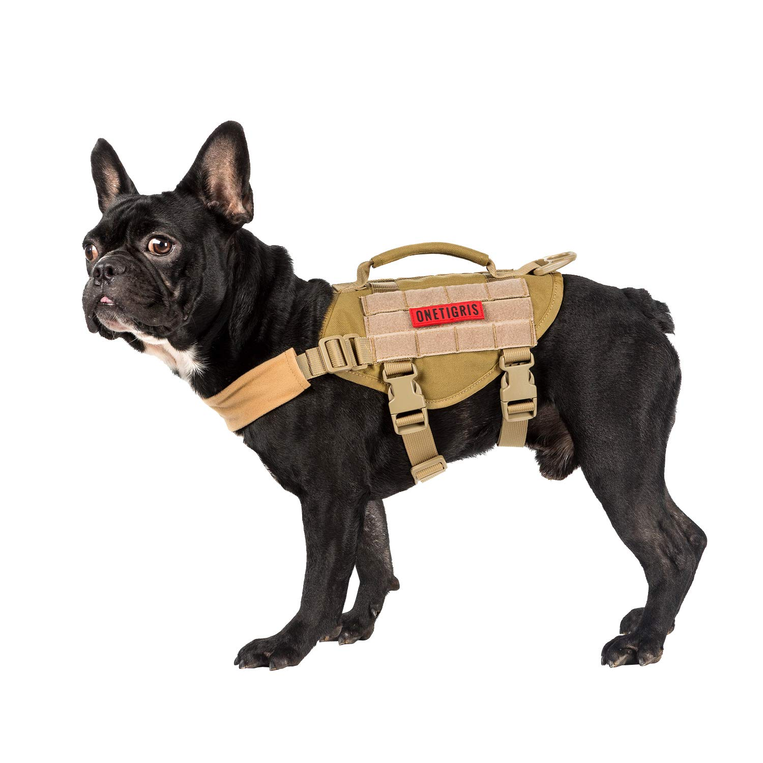 OneTigris Small Dog Vest Beast MOJO Tactical Dog Harness with Durable Vertical Handle for Small Puppy Dog (Coyote Brown, Extra Small)