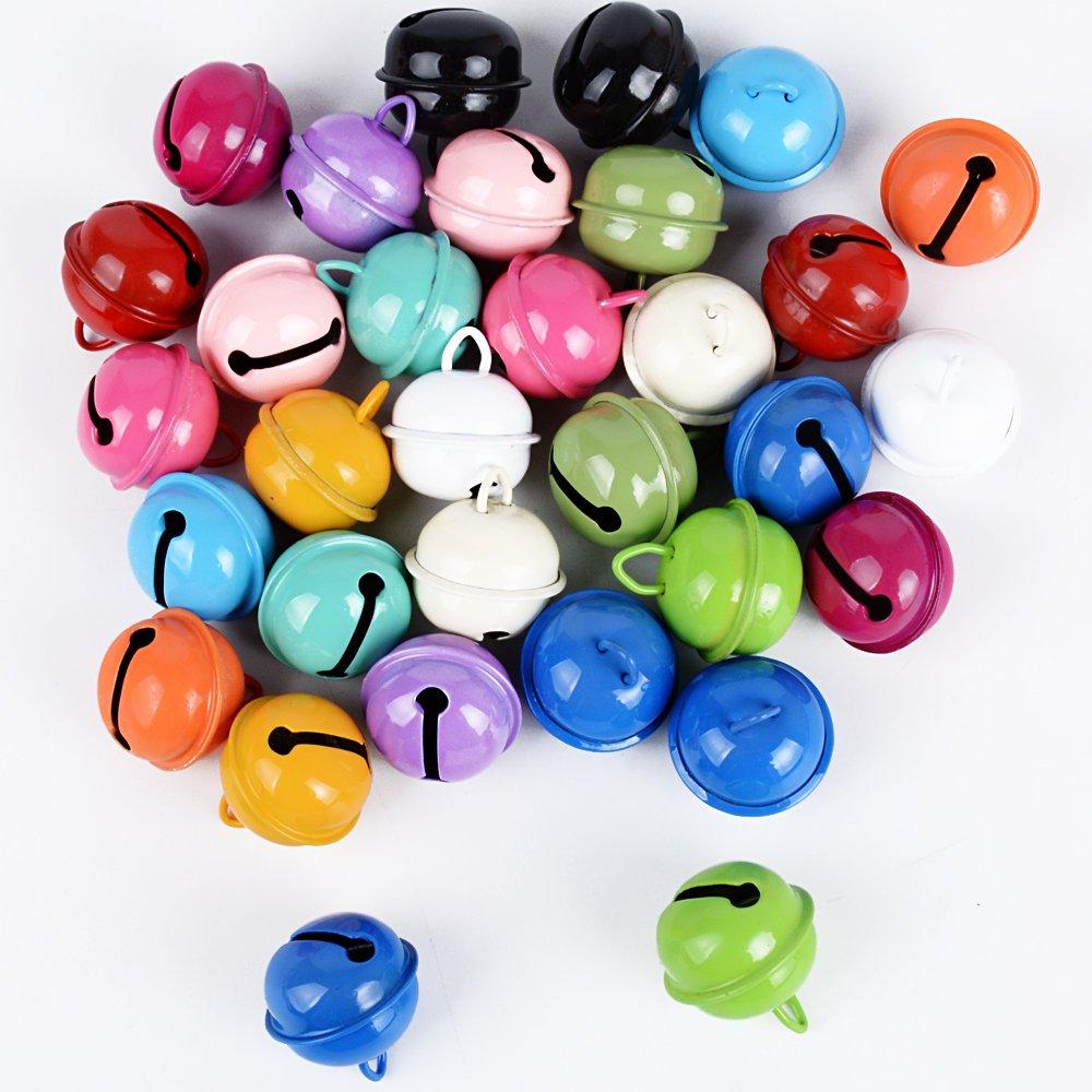 DEOMOR 2.2cm 30pz Campanellini Metallo Colorati Decorazioni Campanelli Piccoli Decorativi Ciondoli in 15 colore