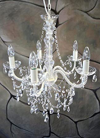 Livitat Kronleuchter Ø 52 cm Lüster Kristall Leuchter Weiß LV3020 ...
