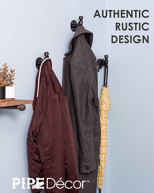 Juego de ganchos para toalla y bata de Pipe Decor, estilo de bricolaje resistente, rústico y chic, galvanizado industrial de hierro con acabado negro, ...