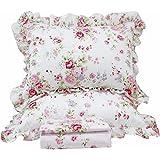 Queen's House Romantic Roses Print Duvet Cover Bedding Sets-Queen,A