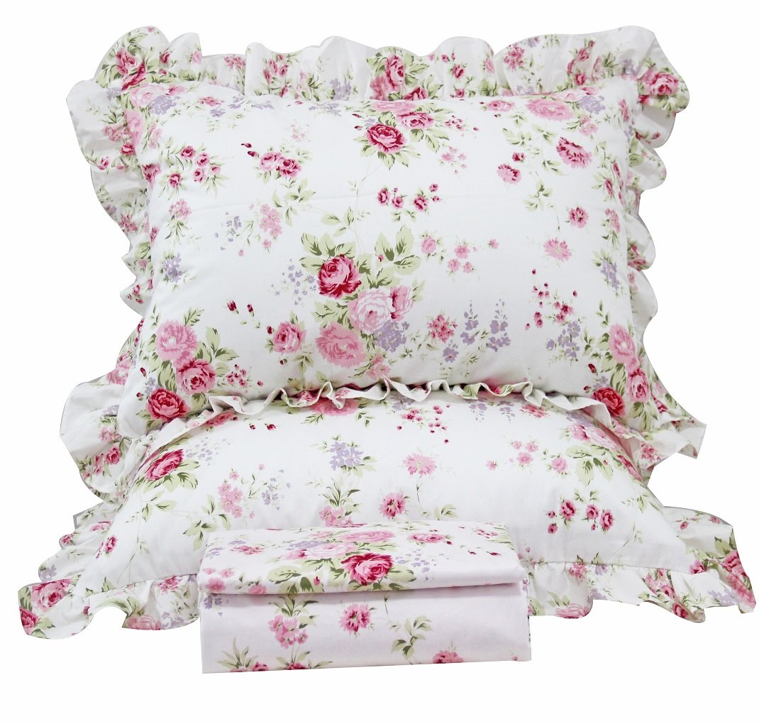 Queen's House Romantic Roses Print Duvet Cover Bedding Sets-Full,A