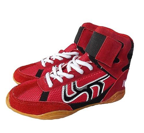 Botas de Boxeo Botas de Boxeo Entrenamiento de Combate con Suela de Goma Deporte Zapatillas de Deporte para Hombres Mujeres Niños Niños Adolescentes: ...