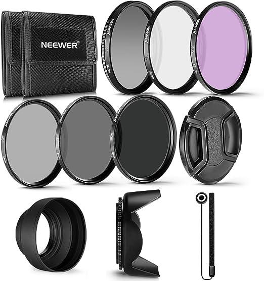 Neewer 58MM Profesional UV CPL FLD Lente Filtro y ND Filtro de Densidad Neutra(ND2. ND4. ND8) Kit de accesorios para Canon Rebel y EOS Cámara: Amazon.es: Electrónica