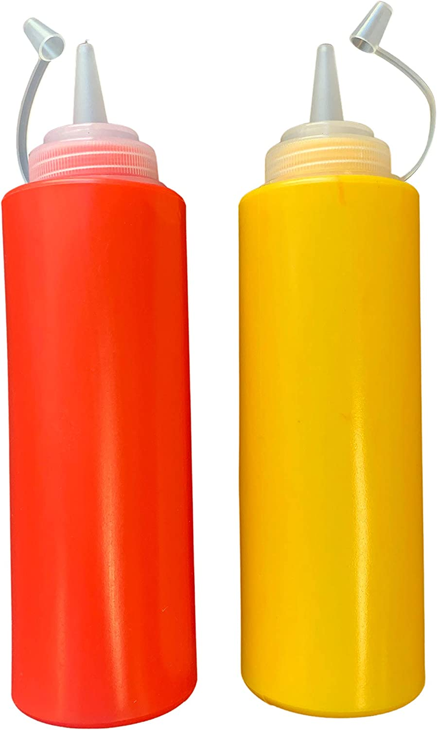 Ketchup and Mustard Squeeze Bottle Dispenser Set 12-Ounce Each For BBQ, Picnics and Home Use