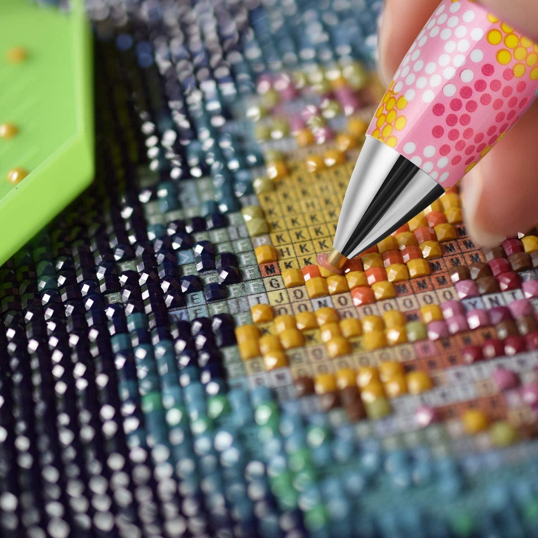 6 Styles 6 Pi/èces Stylos de Forage de Peinture /à Diamant 5D DIY Outil Stylo /à Pointe pour Peinture /à Diamant Stylos de Forage Mignons Stylos de Cueilleurs de Strass pour 5D Peinture et Broderie