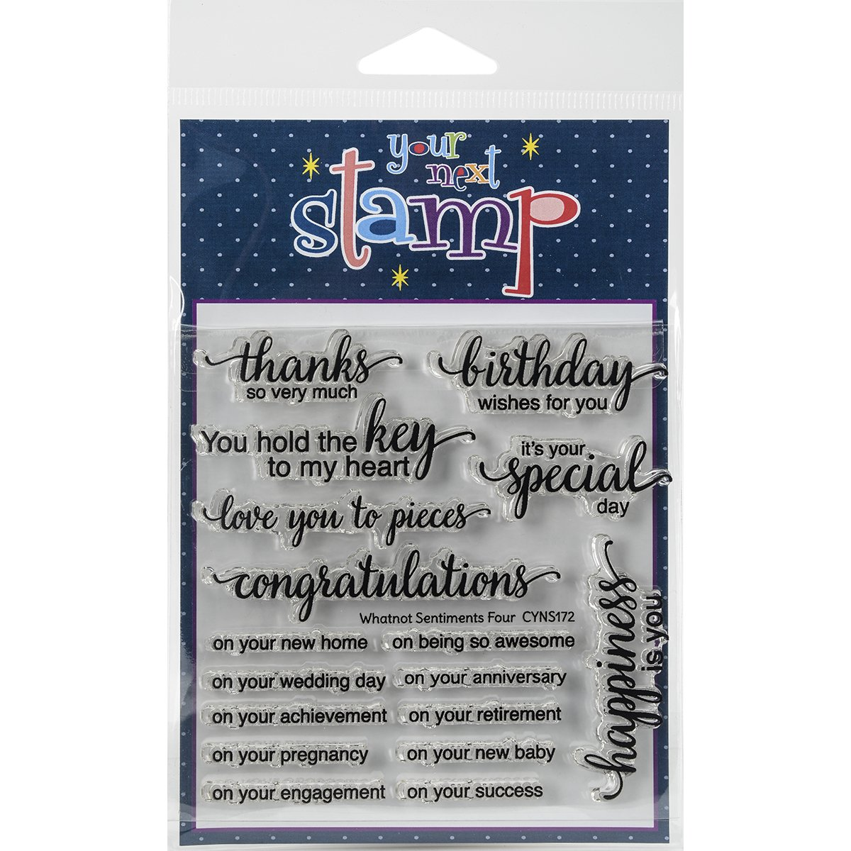 4 x 4 Your Next Stamp Whatnot Sentiment 4 Clear Stamps