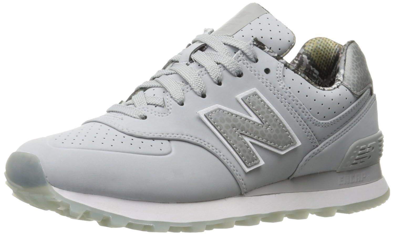 New Balance Women's WL574 Luxe Rep Sneaker B01FSIETAU 6 B(M) US|Silver Mink/Silver Mink