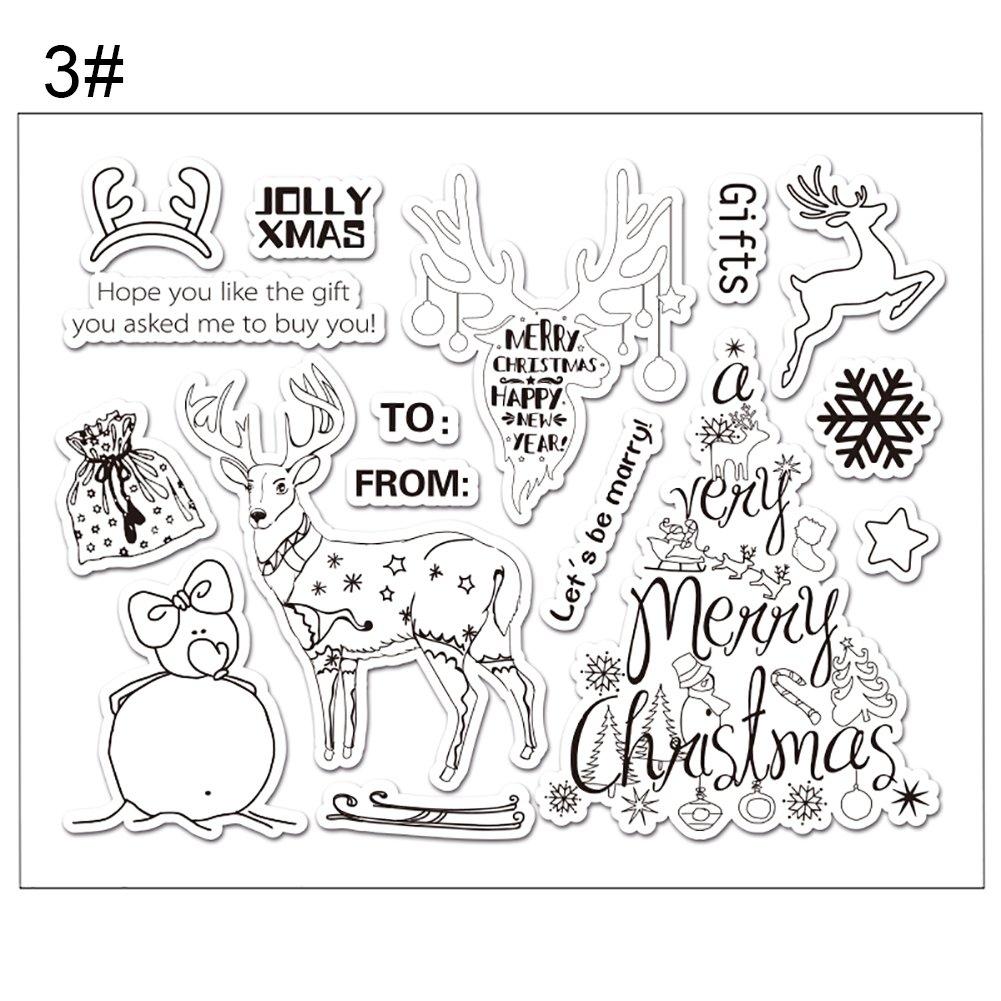 Zhouba Christmas Series Cartoon animali modello silicone trasparente DIY timbri sigilli, Silicone, 1#, taglia unica