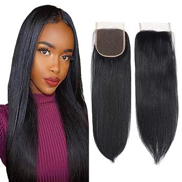 Amazon Com 8a Brazilian Virgin Hair Free Part Lace Closure 4x4 Straight Human Hair Closure Natural Black Color 8inch Beauty