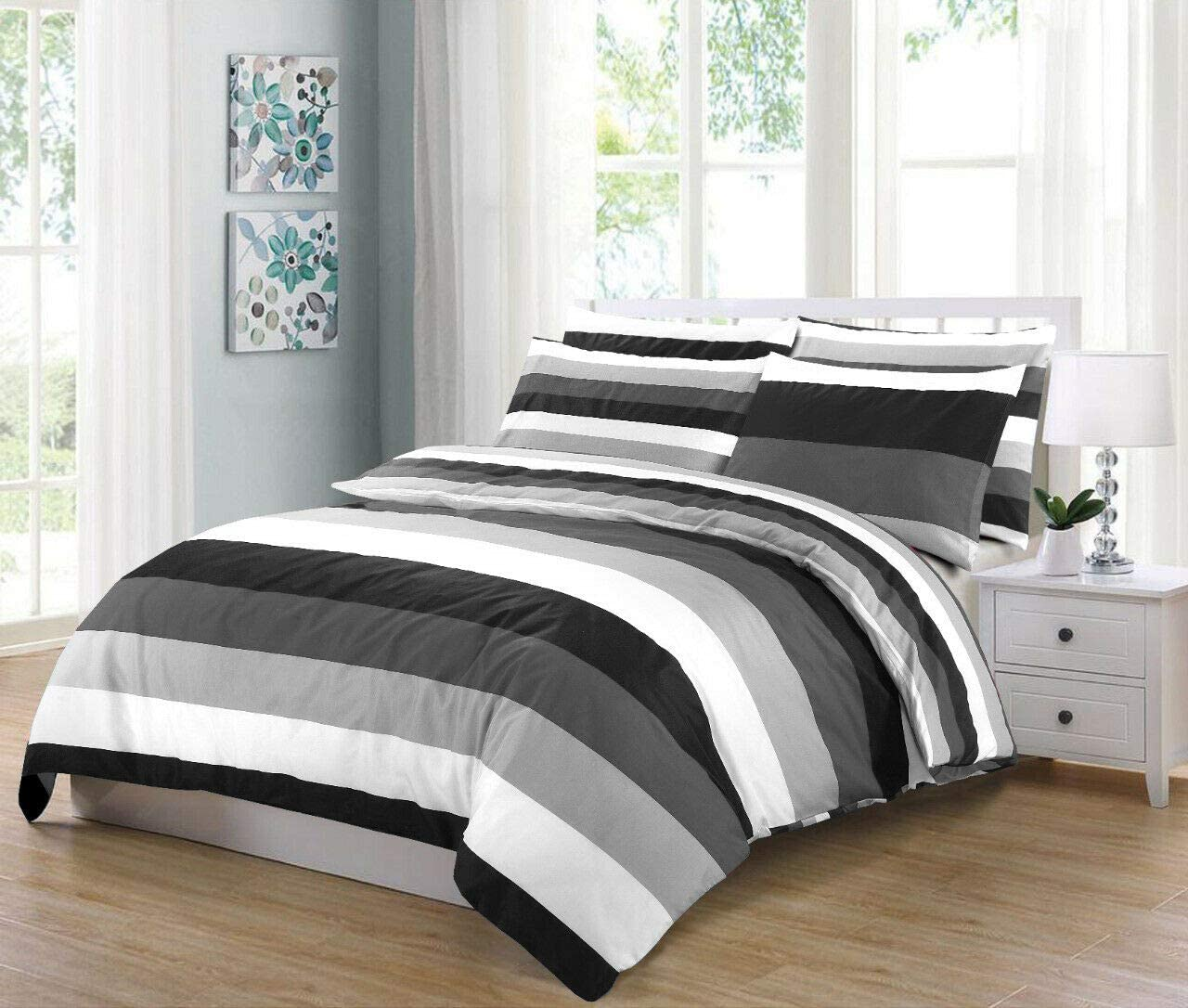 Grey Duvet Cover 100/% Cotton Percale 200 Thread Count Fully Reversible Stripe Quilt Covers Bedding Sets Double King Super King Size King