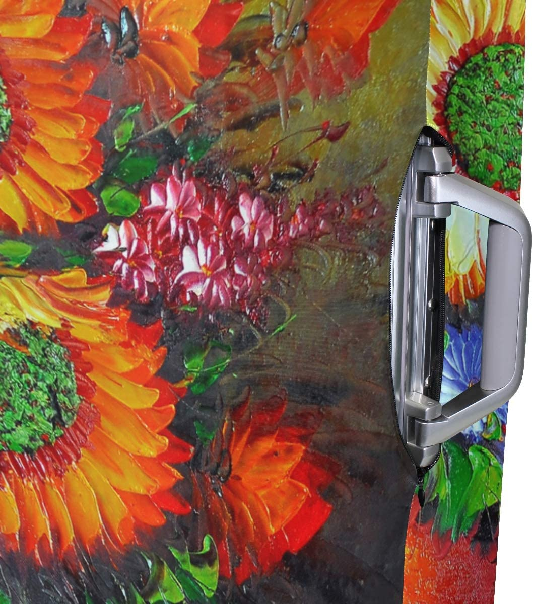 FOLPPLY Sunflower Oil Painting Luggage Cover Baggage Suitcase Travel Protector Fit for 18-32 Inch