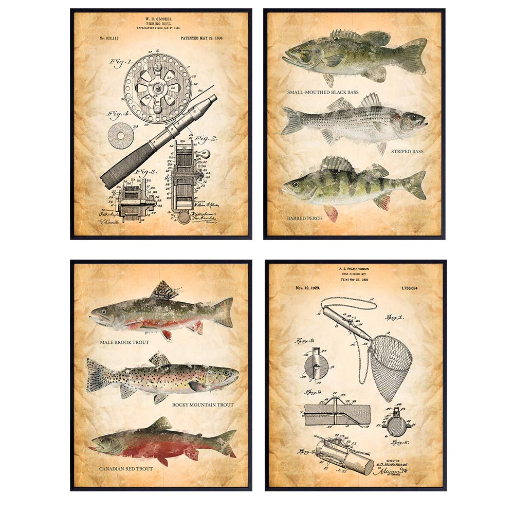 Trout and Fly Fishing Home Decor – Vintage Wall Art Picture Set for Lake House, Adirondack Mountain Cabin, Living Room, Office, Den, Bedroom – Unique Gift For Fishermen - 8X10 UNFRAMED Prints