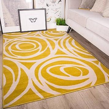 U0026quot;Milanu0026quot; Moderner Teppich In Abstraktem Rosendesign Für Das  Wohnzimmer In Ocker ,