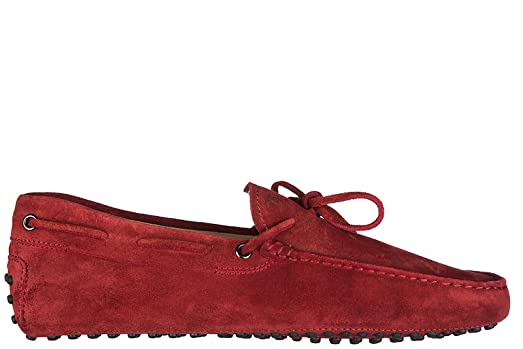 men's suede loafers moccasins gommini 122 red