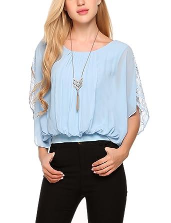 Finejo Damen Chiffon T-Shirt Fledermaus Bluse Loose Fit Shirt Chiffon Top  Obertail  Amazon.de  Bekleidung 543a545278