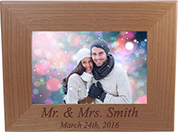Amazoncom Mr And Mrs Custom Engraved Wood Picture Frame Holds