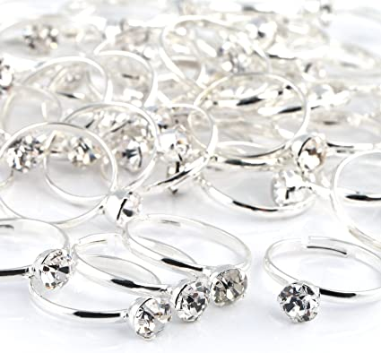 Arts /& Crafts Party Favors Topoox Bridal Shower Rings 40 Pack Silver Diamond Engagement Rings for Wedding Table Decorations