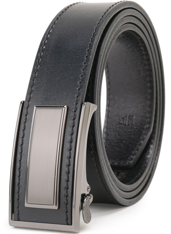 Beltox Fine Men's Automatic Buckle Italian Top Grain Ratchet Leather Dress Belts (32-36, Black Gunmetal Buckle)