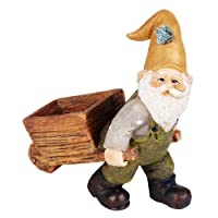 Wonderland Polyresin Miniature Fairy Garden Wheelbarrow Gnome for Decoration- 3.3-inch
