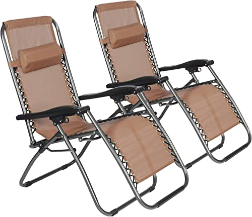 LUCKYERMORE Patio Lawn Zero Gravity Chair Set of 2 Outdoor Folding Portable Chaise Lounge Chair