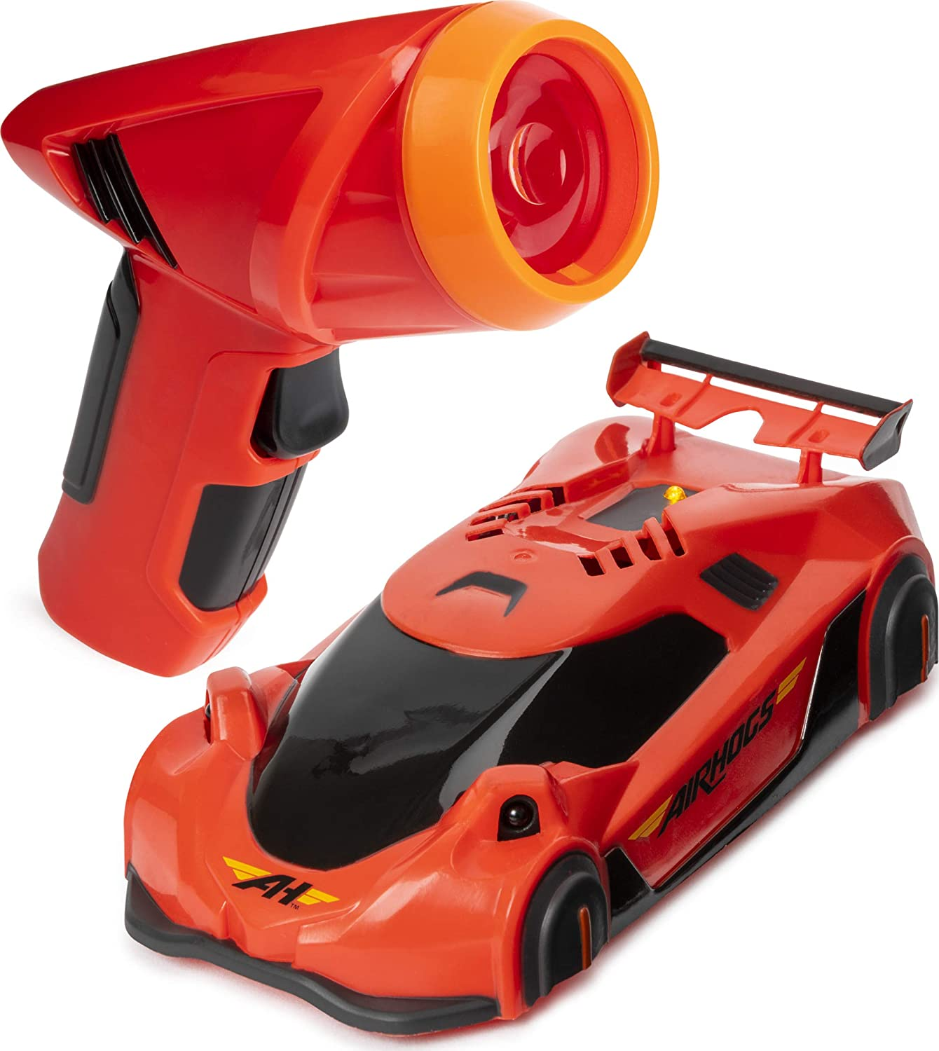 Image of a toy laser gun with toy car in red colors.