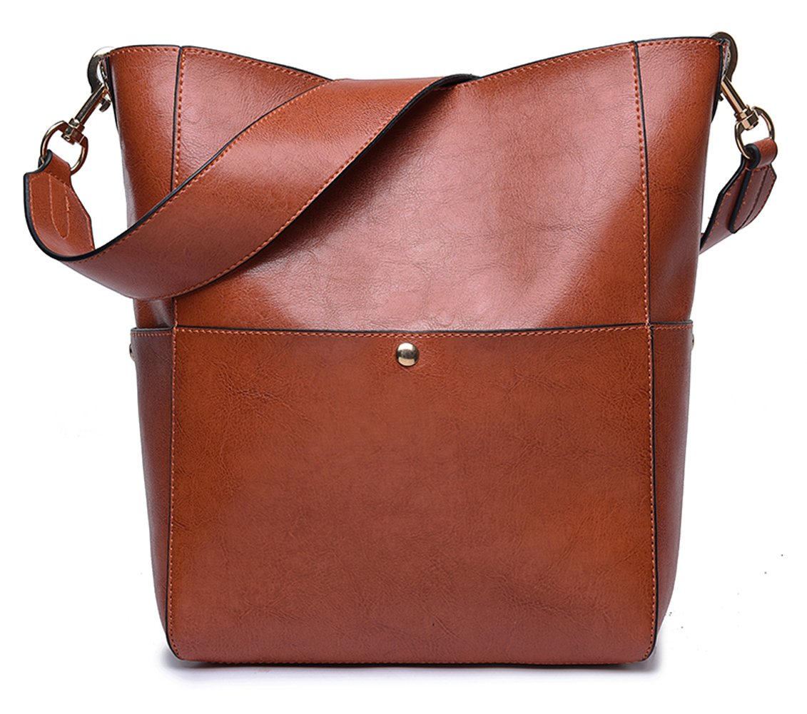 Women's Retro Leather Handbag from Dreubea, Hobo Tote Shoulder Purse Bucket Bag Brown