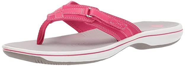 CLARKS Women's Breeze Sea Flip-Flop Bright Rose Synthetic 100 M US best women's flip flops for plantar fasciitis