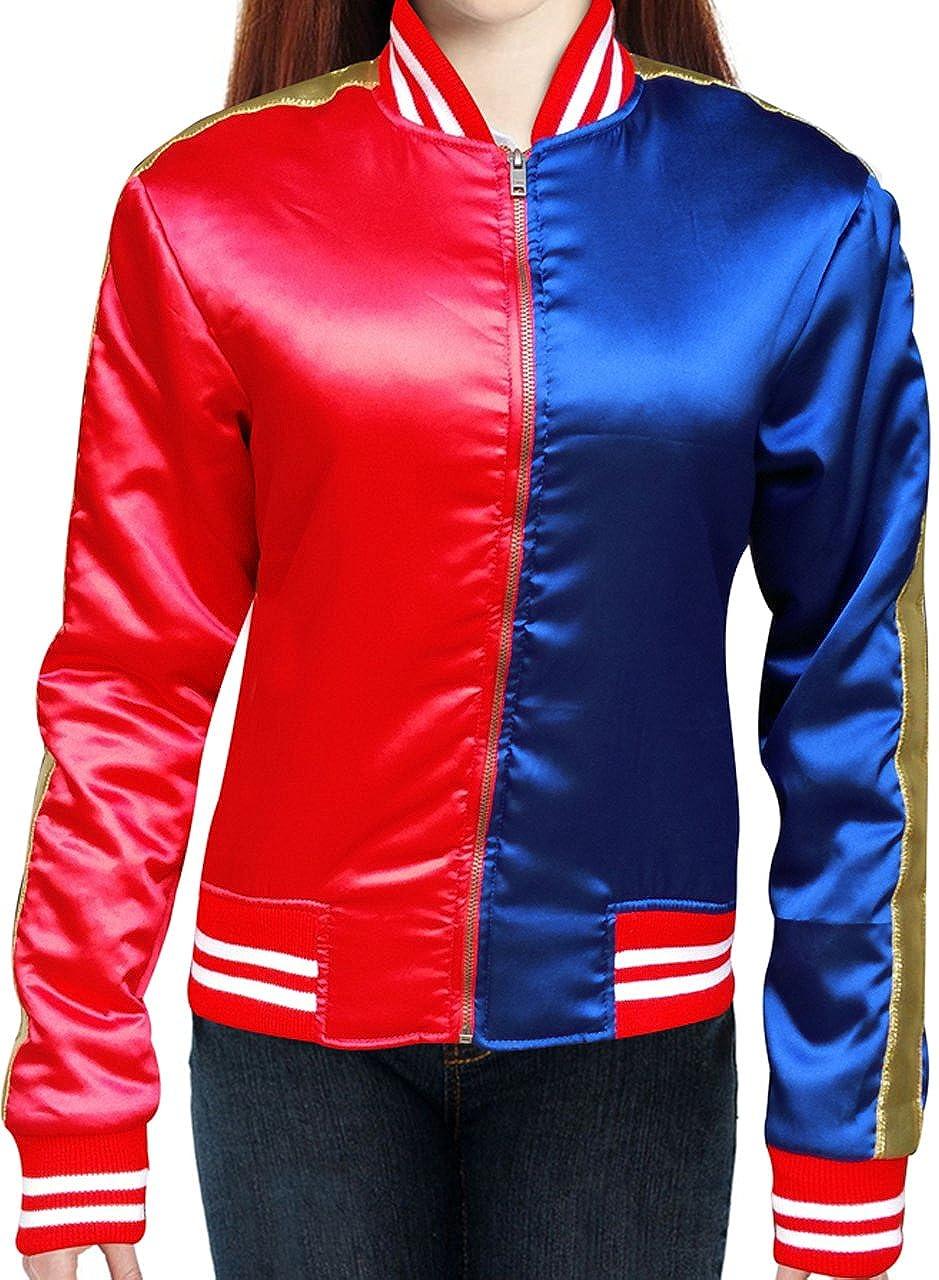 Harley Quinn Chaqueta en rojo y tela de raso), color azul: Amazon.es: Ropa y accesorios