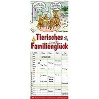 Tierisches Familienglück 2019: Familienplaner - 4 große Spalten mit viel Platz. Familienkalender mit Tier-Comics, Ferienterminen und Vorschau bis März 2020. 19 x 47 cm.