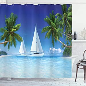 Ambesonne Tropical Shower Curtain, Palm Trees and Ocean Sailboats Nautical Scenery Sea Life Seascapes Caribbean, Cloth Fabric Bathroom Decor Set with Hooks, 70
