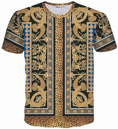 Camisa de compresión de los Hombres Impresión Digital 3D Leopardo Viento indígena Suelta Gran tamaño de Manga Corta Camiseta: Amazon.es: Ropa y accesorios