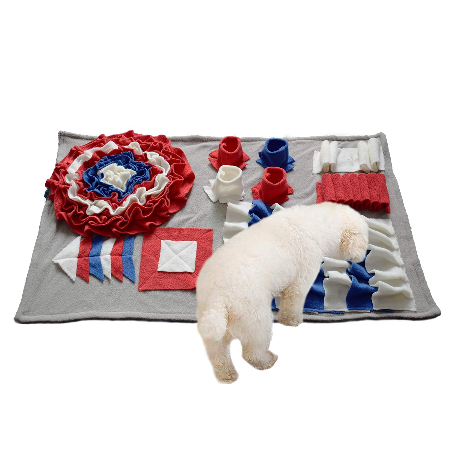 Ali Pet Snuffle Mat, Dog Nosework Blanket, Training Feeding Mat for Dogs(17.7'' x 17.7''), Relieve Stress Mat Pad (Red-M)