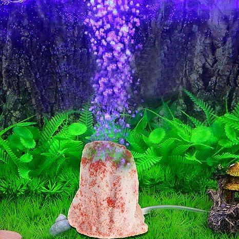 ecmqs Acuario VULKAN Forma burbuja Ornament steinmit 1 metro suave Tubo, Acuario Bomba de oxígeno