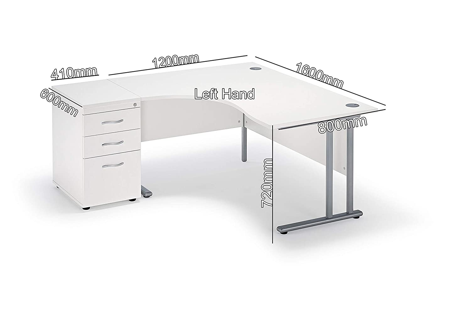 White Curved Executive Cantilever Office Desk